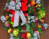 MACKENZIE CHILDS Inspired Christmas Wreath with Harlequin and Red Bow