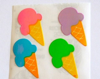 SALE Rare Vintage Sandylion Pearl Finish Ice Cream Cone Stickers - 80's Pearly MOP Opal Strawberry Raspberry Lime Blueberry Cherry