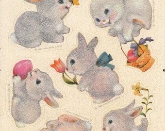 SALE Hallmark Fuzzy Bunny Rabbit Rare Vintage Sticker Sheet - 80's Retro Tulip Easter Basket Adorable Cute Bunnies