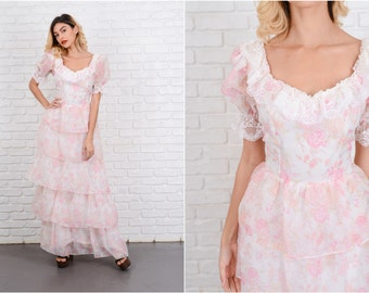 Vintage 70s Lace Boho Dress Tiered Puff Sleeve Floral Print Pink White Maxi S 8538