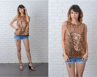 Vintage 80s Metallic Sequin Top blouse Glam Beaded retro Large L 9191