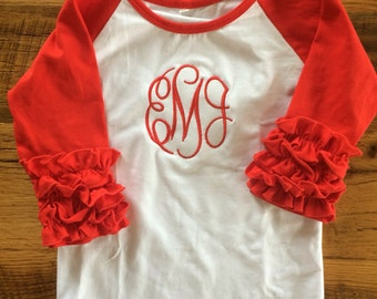 Icing Ruffle Sleeve Raglan Tee, Baseball Tee with Monogram, Ready to Ship in sizes 18 months to 10 yrs