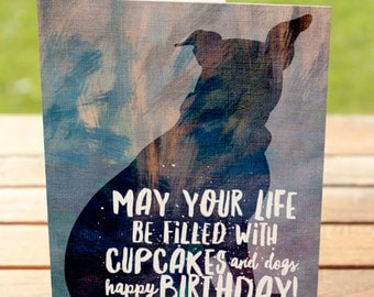 Birthday Greeting Card   Dogs and Cupcakes Pitbull   A7 5x7 Folded - Blank Inside - Wholesale Available