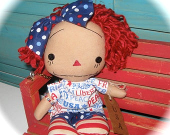 "Small 10"" Patriotic Annie Ann Raggedy Doll Girl OOAK-USA Americana Rag Doll"