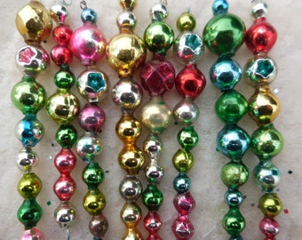 Reserved for Katie  8 Vintage Jewel Tone Christmas Icicle Ornaments Mercury Glass Garland Beads  (set 8A)