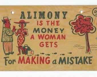 Vintage Postcard Large Colored Postcard Sign Humourous Postcard 1940 Risque Komic Kard Postcard Mature Paper Ephemera Kitsch Paper