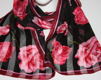 "AK Anne Klein Silk Scarf - Black and Pink - Rose Floral Design - 10 x 56"" Rectangular"
