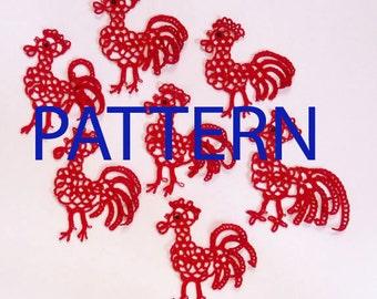 Red Rooster. Symbol 2017. Tatting Rooster pattern . PDF pattern. Tatting pattern.  New Year.