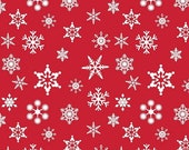 SHOP CLOSING SALE Christmas Fabric for quilt or craft Riley Blake Snowflakes in Red Half yard