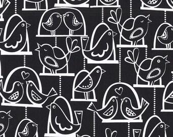 SHOP CLOSING SALE Michael Miller fabric by the yard Bird Swing in Black 1 Yard