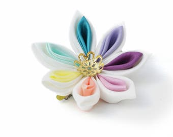 Rainbow Hair Flower - Wedding Hair Flower - Pastel Rainbow - Sweet Lolita Hair Accessory - Kawaii Hair Accessory - Kawaii Hair Clip