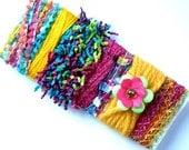 Rainbow Novelty Yarn Sampler  - Art Fibers Bundle - for Bracelet Making, Fellting, Millinery, Gift Wrapping, Scrapbook Embellishment - A3