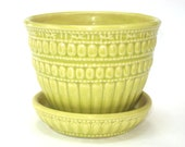 "McCoy Pottery Chartreuse Beaded 5"" Planter w/ Saucer - Yellow Green Flower Pot EUC"