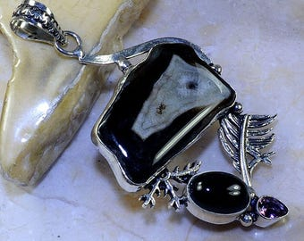 Drusy Agate Black Onyx Amethyst Sterling Feather Pendant