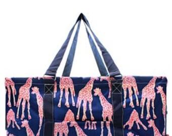Monogrammed Giraffe All purpose Utility Tote -Teacher Tote Bag - Beach Bag - Gym Bag - Monogrammed Tote Bag - Custom Utility Car Tote