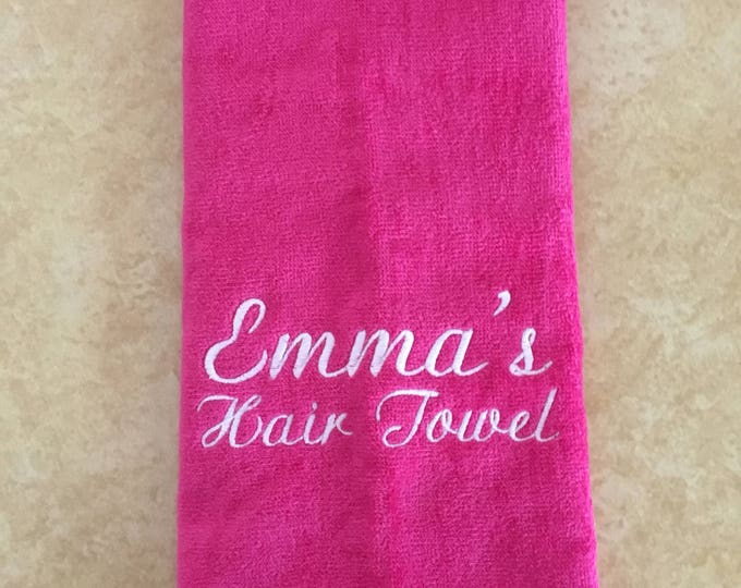 custom towel with one or two lines only. No design, great for hair, make up, exercise,
