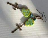 Skull Earrings Lime Green Sugar Skull Earrings Turquoise Day Of The Dead Earrings Gothic