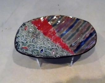 Stripe Gripe - Handmade Ceramic, Textured Plate, Trinket Dish, Dessert Plate