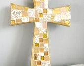 GOLD Mosaic  Wall CROSS - Broken China - Stained Glass - Art Piece
