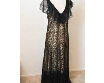Black and Gold Lace Dress | Flapper Style Dress | Vintage Lace Flapper Dress