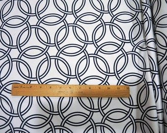 Home Dec Ring Circle Swirl Cotton Sateen Fabric in Navy Blue and White  Home Decor