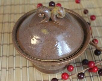 Salt Cellar - Brown - Salt and pepper - treasure box - North Carolina Pottery - ring holder