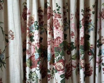mid century cabbage rose pinch pleat curtain panel kitchen curtain vintage living room valance