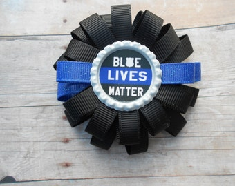 Blue Lives Matter Loopy Flower Police Hair Bow
