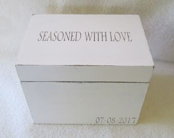 Personalized Shabby Recipe Box, Shabby Cottage Chic, Antique White, Wooden Recipe Box, 4X6 or 5X7 Recipe Box,  Personalized Recipe Box, Gift