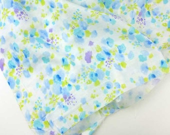 Watercolor floral double gauze from Kobayashi in blues cotton double gauze fabric, by the yard