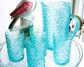 Soreno, Ancor Hocking, Aquamarine, 26 oz Juice Pitcher, Juice Glass Set of Four 4, Soreno