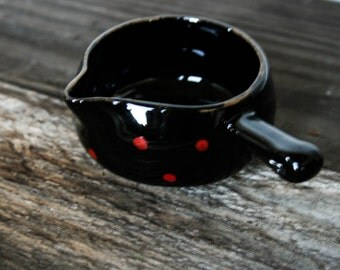 Small Pouring Mug, Side Handle, Spice Bowl, Foodie Gift, Black with Red Polka Dots, Made in Japan