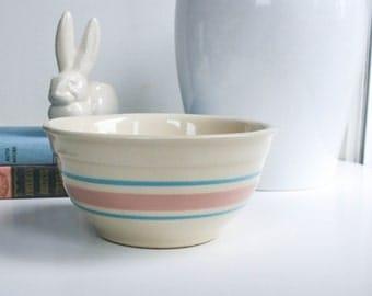 Vintage Kitchen Bowl, Pink Blue Stripes, #7