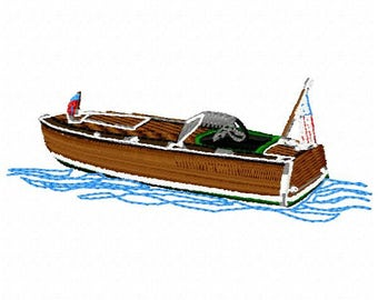 Wood Boat Machine Embroidery Design - Instant Download