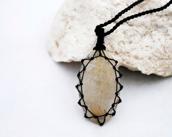 Mom gifts, Golden Rutilated Quartz, Rutile Quartz necklace for her, Golden Rutile pendant, Healing crystal jewelry for her, FREE SHIPPING