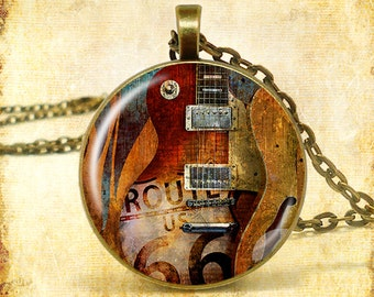 "Guitar Route 66 Art Print Pendant (Approx 1.5"" diameter) with 24"" Chain, Nickel Free"