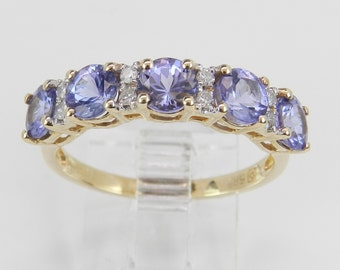 Diamond and Tanzanite Wedding Ring Anniversary Band 14K Yellow Gold Size 8