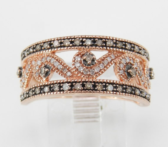 White and Fancy Cognac Diamond Wedding Ring Anniversary Band Rose Pink Gold Size 7