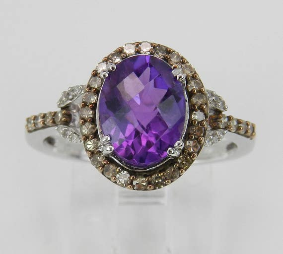 Amethyst and Fancy Diamond Halo Engagement Promise Ring White Gold Size 7 February Birthstone