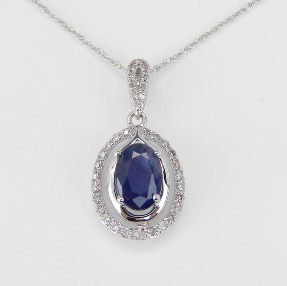 "Diamond and Sapphire Halo Pendant Necklace 14K White Gold 18"" Chain Wedding Gift September Birthstone"