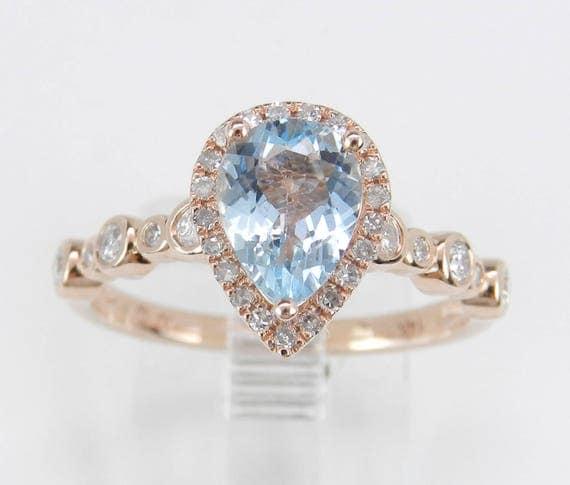 Diamond and Aquamarine Halo Engagement Ring Aqua 14K Rose Gold Size 7