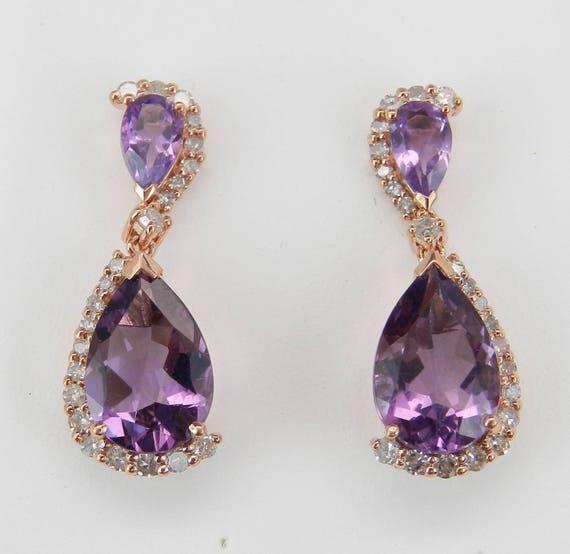 Diamond and Amethyst Dangle Drop Earrings set in Rose Pink Gold Purple