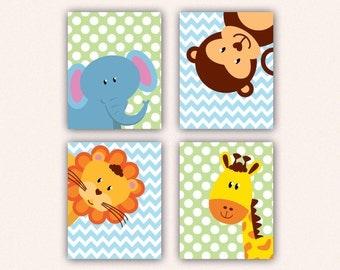 Jungle Animal Nursery Print Set - Elephant Monkey Giraffe Lion Kids Bedroom Art, Chevron and Polka Dot Safari Decor in Aqua & Lime (5008)