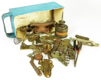 Garage Junk Drawer, Vintage Storage Bin, Metal Parts for Assemblage, Steampunk Art