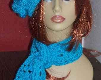 ON SALE Teal Crochet Beret and Scarf Set