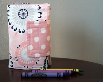 Girl Art Wallet - Crayon Holder - Crayon Wallet - Flowers - Pink -  Blue - Small Gift Idea - Birthday Party Favor - Stocking Stuffer Gift
