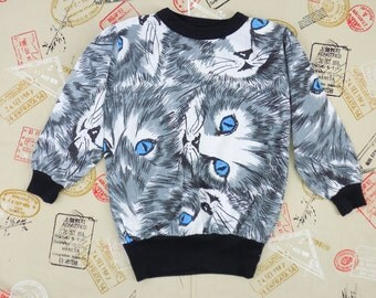 Kids Vintage Kitty Cat Sweatshirt Girl's S