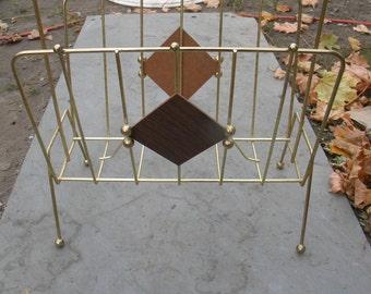 great shape vintage eames era 1950s 60s mid century brass WIRE MAGAZINE NEWSPAPER rack stand