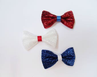Red, White, and Blue Patriotic Glitter Mini bows - Itty Bitty Toddler Pig Tail Bows - Newborn Baby Tux Bow