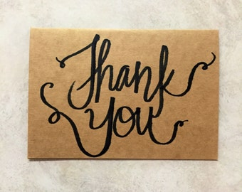 Hand Lettered Thank You Card Kraft Thank You Card Note Card